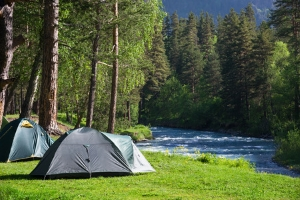 camping tent by the river